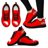 Bright Red Women's Horse Lover Sneakers - Sketcher Shoes Style with White Horse Silhouette on a Red Shoe with Black Sole