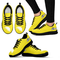 Yellow Women's Horse Lover Sneakers - Sketcher Shoes Style with White Horse Silhouette on a Yellow Shoe with Black Sole