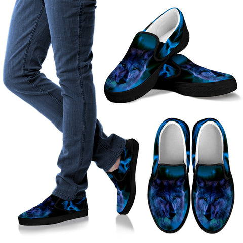 Mystical Wolf Slip On Sneakers Footwear - Vans Shoes Style for Wolf Lovers –Exclusive Design - Blue and Black- For Men, Women and Kids!