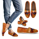 Free Range Horse Women's Casual Shoes - Ladies Casual Slip On Shoes - Rust and Brown Painted Shoes