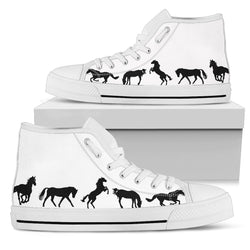 Women's Stylish Horse Lover's Sneakers Footwear - Black Horses Silhouettes on High Top Converse Style - White Canvas Shoe with White Sole