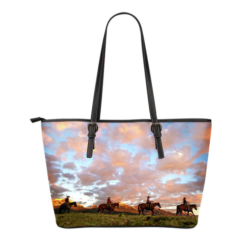 Leather Cowboy Zipper Tote - Small Tote Bags with Cowboys Riding On The Range at Sunset - Exclusively Licensed Artwork