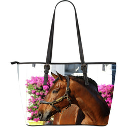 Beautiful Bay Horse Leather Tote Collection - Brown and Black Horse - Exclusively Licenses Artwork - 2 Images