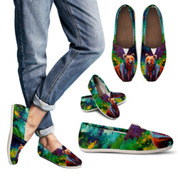 Wildflower Grizzly Casual Shoes  - Ladies Casual Slip On Shoes - Blue and Green Painted Shoes