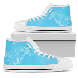 Women's Ghost Horse Sneakers Footwear - Mystic White Horse on Light Blue Converse High Tops Style - White Sole