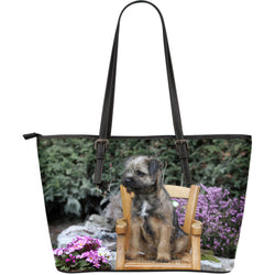 Large Border Terrier Love Leather Tote Collection - Puppy Dog Handbag - Green and Black - Exclusive Artwork - 5 Choices