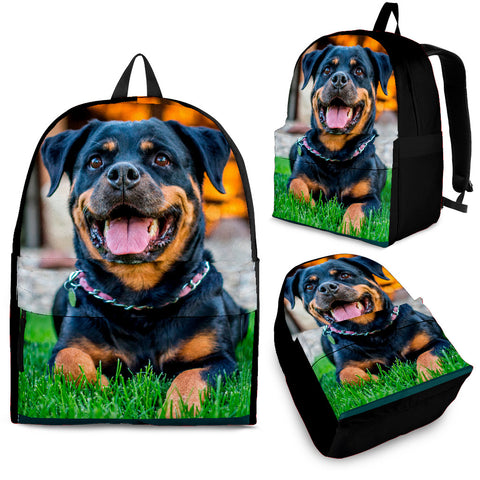 Gorgeous Rottweiler Backpack - Black, Tan and Green - Adult, Youth and Child Sizes