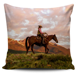 """Cowboy Sunrise"" Pillow Cover Set - 4 Images"