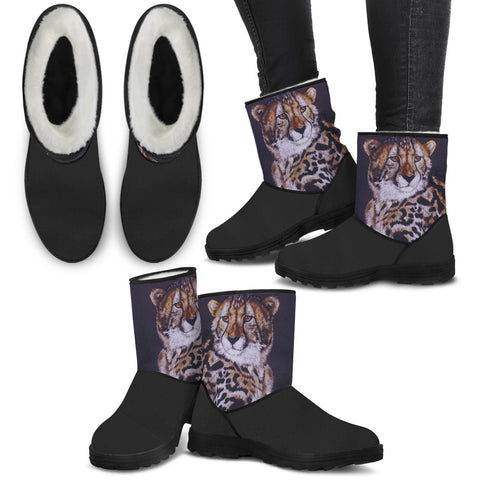 Cheetah Faux Fur Boots (Image on Sides Only)