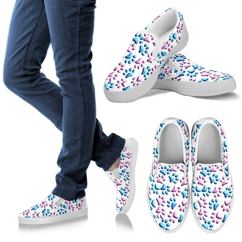 Women's 3D Blue and Pink Paw Print White Van Style Slip-Ons - White Sole