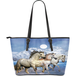 Large Leather Horse Zipper Tote - 3 White Horses on a Blue Tote - Exclusively Licensed Artwork