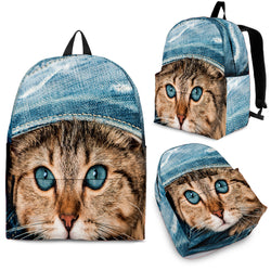 Cute 3D Denim Kitty Cat Backpack - Cool Backpacks - Blue with Kitten - Adult, Youth and Child Sizes