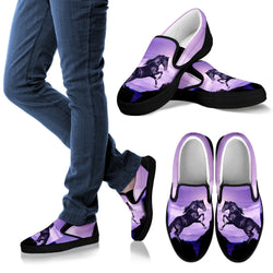 Black Stallion Jumping Vans Shoes Style for Horse Lovers –Exclusive Artwork - Black and Purple - For Men, Women and Kids!