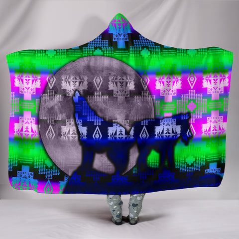 Wolves Aurora Hooded Blanket