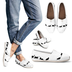 Women's Cat Lover's Casual Shoes - Ladies Designer Shoes- White Shoe with Black Cat Silhouette