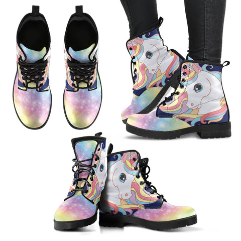 Unicorn Universe Handcrafted Dr. Marten Style Boots in Light Pink and Blue