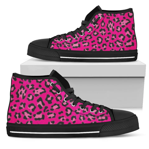 Women's Leopard Print Converse Hi-Top Style Sneakers in Fushia Hot Pink with Black Soles