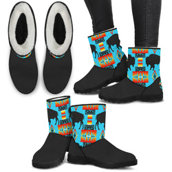 Turquoise on Black Buffalo Furry Boots