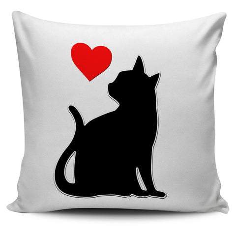 Black Cat Red Heart Pillow Cover