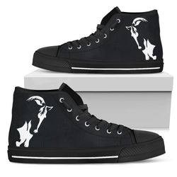 Women's Artistic Horse Lover's Sneakers Footwear - White Horse Silhouette on Converse High Tops Style - Black Canvas Shoe with Black Sole