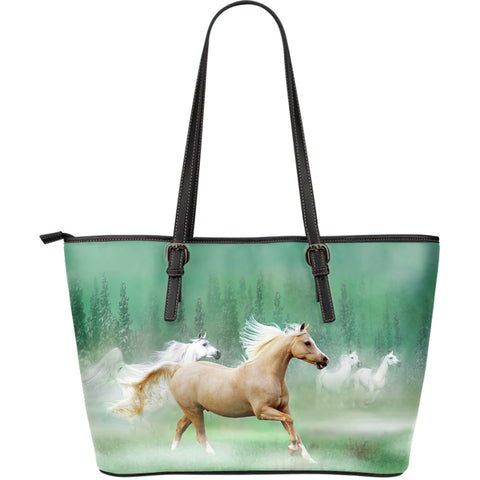 Large Leather Palomino Horse Zipper Tote - Beige Horse on Green Tote - Exclusively Licensed Artwork