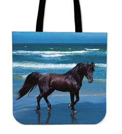 ON SALE!! Black Beauty on the Beach Tote - Beautiful Black Horse on Canvas Tote