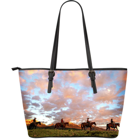 Cowboys Riding On The Range at Sunset - Large Leather Tote for Horse Lovers - Carry a Work of Art!