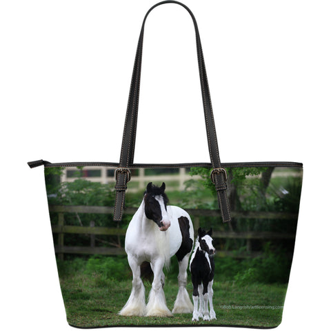 Gypsy Vanner Large Tote Collection - Green Black and White Handbag - Exclusive Artwork - 2 Images