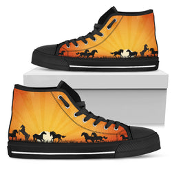 Women's Sunburst Horse Sneakers Footwear - Black Horses Silhouettes on Orange Converse High Tops Style - Black Sole