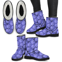 Ladies Faux Fur Boots - Purple Paws