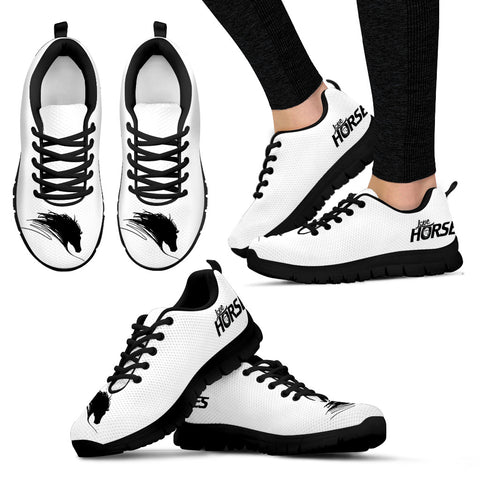 White Women's Horse Lover Sneakers - Sketcher Shoes Style with Black Horse Silhouette on a White  Shoe with Black Sole