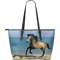 Large Leather Rose Gray Horse Zipper Tote - Grey Horse on Blue Tote - Exclusively Licensed Artwork