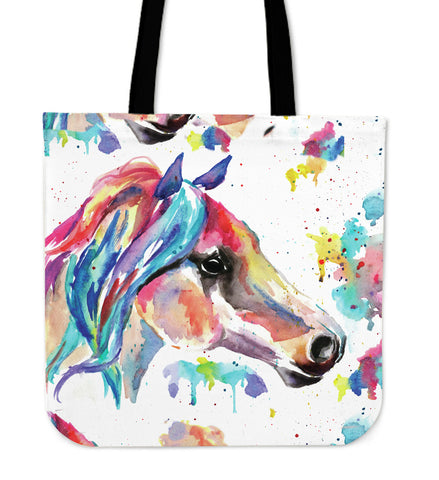 Colorful Watercolor Horse Canvas Tote Bag - Multi Color on White