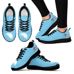 Light Blue Women's Horse Lover Sneakers - Sketcher Shoes Style with White Horse Silhouette on a Blue Shoe