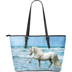 Large Leather Lipizzaner Horse Zipper Tote Collection - Blue and White Tote - Choice of 3 Large Tote Bags