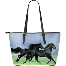 Large Black Fresian Horse Tote Bag - Blue, Mint Green and Black Handbag - Exclusively Licensed  Artwork