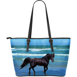 Large Black Beauty Horse Leather Tote Bag - Blue and Black Vegan Leather - Exclusively Licensed Artwork