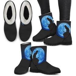 Full Moon Cat Faux Fur Boots