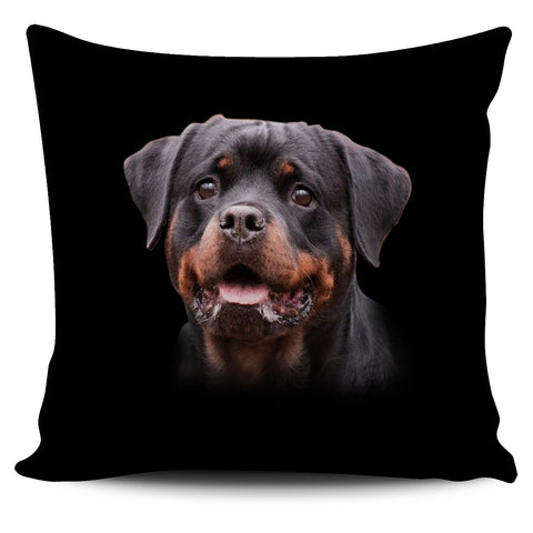 Rottweiler Lovers Pillow Cover with Black Background