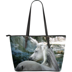 Large Leather Magical Dapple Grey Horse Zipper Tote - Grey Tote - Exclusively Licensed Artwork