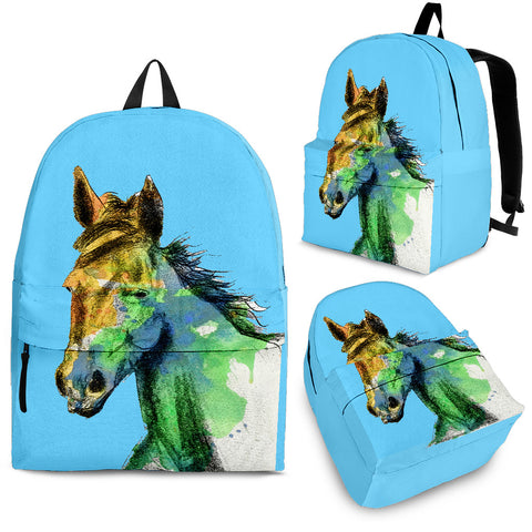 Pretty Blue Watercolor Horse Backpack - Light Blue Backpack with Horse Watercolor Art - Adult, Youth and Child Sizes