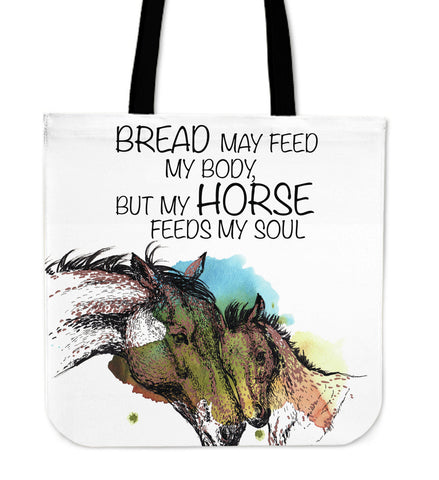 Watercolor Bread May Feed My Body But My Horse Feeds My Soul Canvas Tote Bag in White Brown and Blue