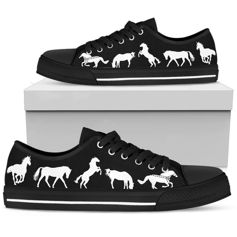 Women's Stylish Horse Lover's Sneakers Footwear - White Horses Silhouettes on Low Top Converse Style - Black Canvas Shoe with Black Sole