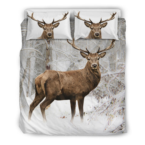 Winter Deer Woodland Bedding Set in Brown and White