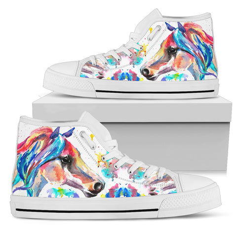 Women's Striking Watercolor Horse Sneakers Footwear - Multi-Color Horse  on White Converse High Tops Style - White Sole