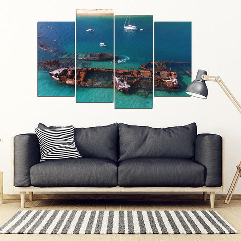 Tangalooma Ship Wrecks 4 Piece Wall Art