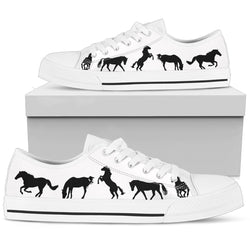 Women's Stylish Horse Lover's Sneakers Footwear - Black Horses Silhouettes on Low Top Converse Style - White Canvas Shoe with White Sole