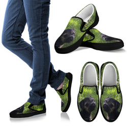 Silli Border Terrier Canvas Slip On Shoe - Vans Shoes Style for Dog Lovers –Exclusive Artwork - Green and Black- For Men, Women and Kids!
