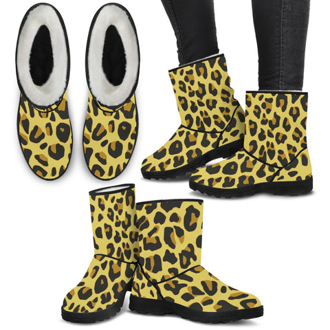 Ladies Faux Fur Boots - Leopard