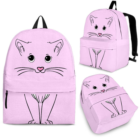 Cute Pink Kitty Cat Backpack - Pink with Black Cat Graphic - Adult, Youth and Child Sizes